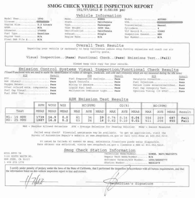 California Smog Laws >> 1992 Accord Flunks Ca Smog Inspection Report Included Honda Tech