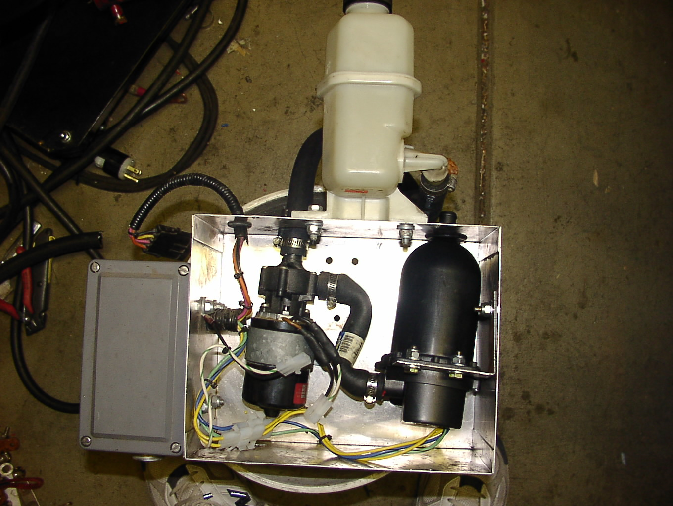 Complete view of heater box with Hotstart heater and pump.